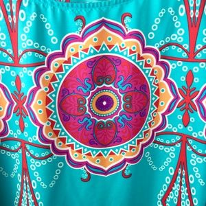 Auditions Dresses - Turquoise pink medallion print Auditions size 2XL
